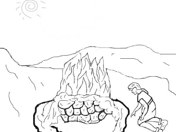 altar coloring page - Elijah Bible Story Coloring Pages