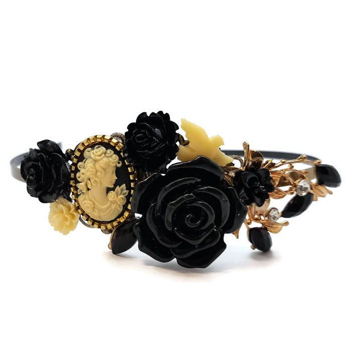 Gold Lady Headband-Cameo Crown-Prom Headband-Bridesmaid Headpiece-Bridal Fascinator-Cameo Floral Comb-Black Hair Pin-Flower Clips-Decorative