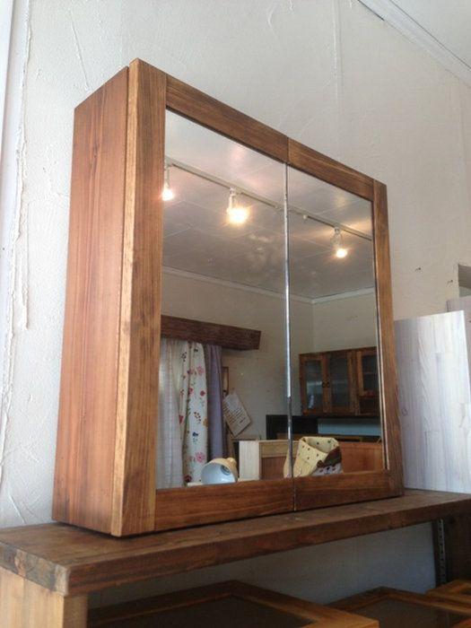 洗面収納棚・二枚合わせ鏡☆ウォルナット色☆ミラーキャビネット【RCP】