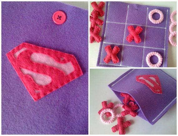 Felt Tic Tac Toe Supergirl Game  Are you looking for a last minute Christmas presente for your CHILDREN ? You found it! Have a look at my shop for more ready to ship TIC TAC TOES!!!