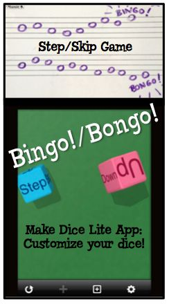 Make Music Rock!: Bingo! Bongo! Step/Skip game. Make custom dice for extra fun.