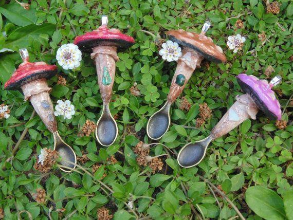 Alice & Absolem Mushroom Spoon Necklace / Polymer Clay Mushroom / Magic Mushroom Pendant / Rave Jewelry / Festival Gypsy / Amanita Muscaria Feathermoon Byron Bay