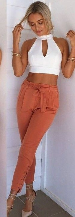 #summer #muraboutique #outfitideas |  White Crop + Burnt Orange Pants