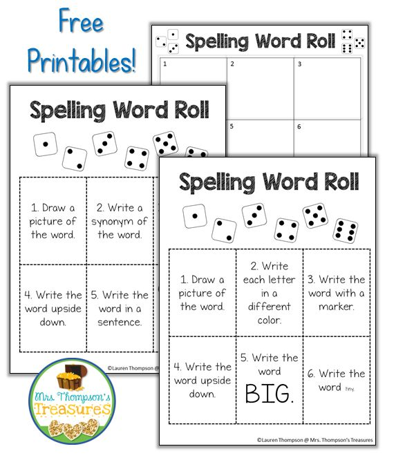 Spelling Word Fun       Are you looking for a fresh new way for your students to practice their spelling words? Visit my blog to read aboutsome fun activities we do andgrab this Spelling Word Roll printable! Give your students a die and they will have a blast! There are 2 versions so you can choose what works best for your class.      dice Lauren Thompson Mrs. Thompson's Treasures spelling activities Word Work