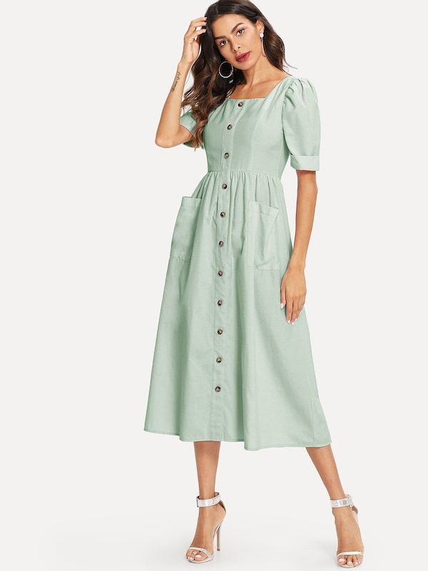 Puff Sleeve Button Up Fit Flare Dress Shein Fit Flare Dress Patch Dress Flare Dress