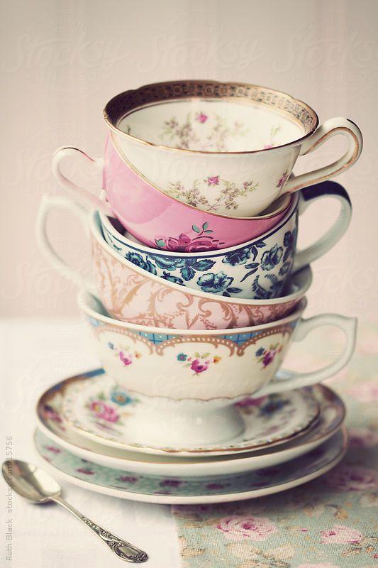 Stack of vintage teacups by Ruth Black