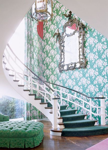 Dorothy Draper. Love the wallpaper and colors!: Mirror, Spirals Staircases, Dreams Home, Dreams Houses, Color, Green, Wallpapers, Stairs Cases, Stairways