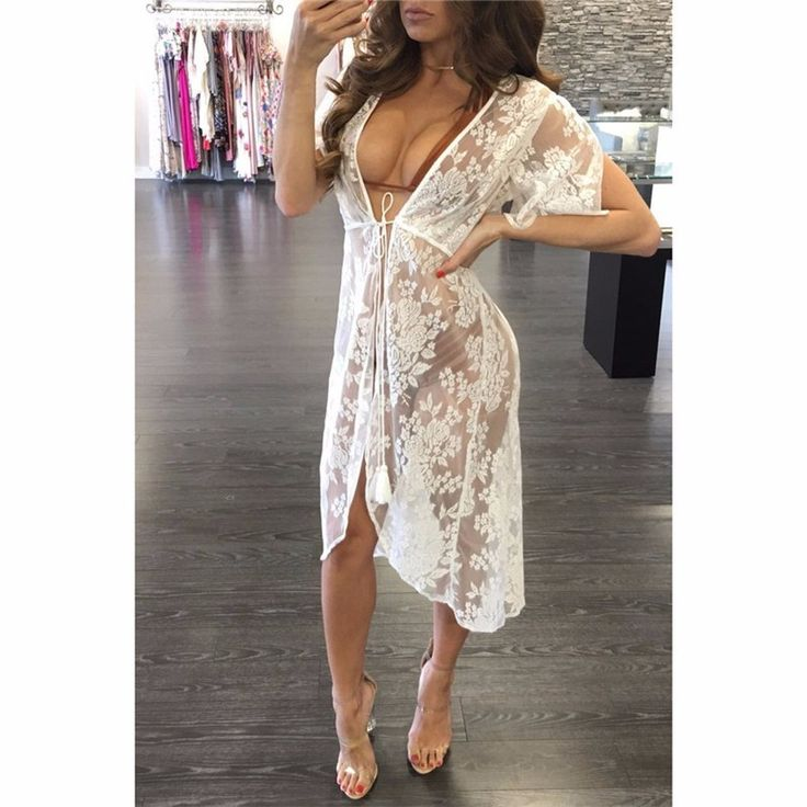 $18.35 - Cool Floral Embroidery Beach Cover Up 2017 Women Bikini Cover ups Lace Swimwear Sarong Beach Dress tunics for beach Wear - Buy it Now!
