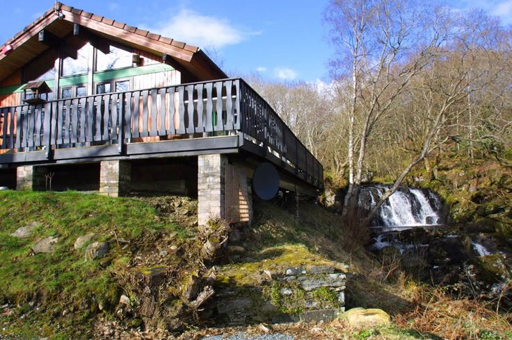 Luxury Waterfall Lodge at Loch Tay - hot tub, log burner, sauna and private waterfall and natural pool - love this place!