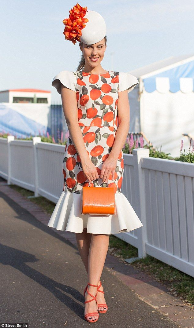 Botanical prints and citrus colours are in: Crystal Kimber was Myer Lady of the Day at Ballarat in 2014, where she wore a home made orange-print leather dress and a fascinator by Biretta & Busby Hatmaker Co