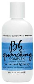 Bumble and Bumble Quenching Complex A potent, daily, leave-in treatment that quenches the cuticle smooth, seals in moisture, renews shine and protects (keeping flyaways...away). This is for the terribly thirsty (from chronic dryness or repeated heat styling and brush strokes). Use daily.