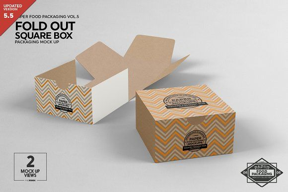 Download Square Fold Out Box Packaging Mockup Food Box Packaging Packaging Mockup Box Packaging