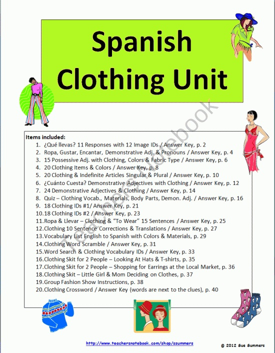 spanish clothing unit vocabulary skits worksheets bundle product from sue summers on. Black Bedroom Furniture Sets. Home Design Ideas