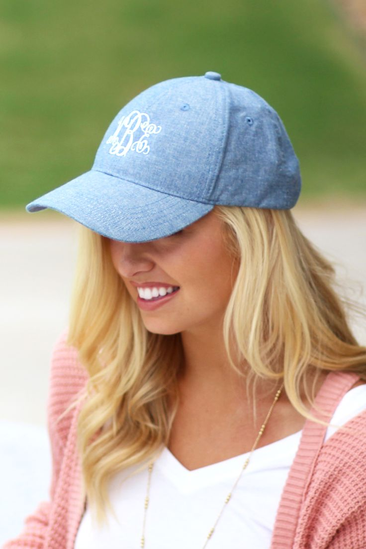 Monogrammed Baseball Hat in Chambray from Marleylilly.com!