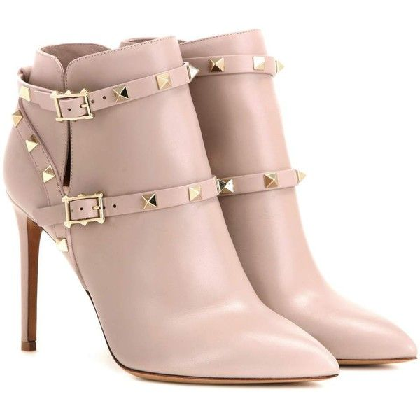 Valentino Rockstud Leather Ankle Boots ($1,345) ❤ liked on Polyvore featuring shoes, boots, ankle booties, heels, botas, ankle boots, beige, heeled boots, beige booties and beige leather boots
