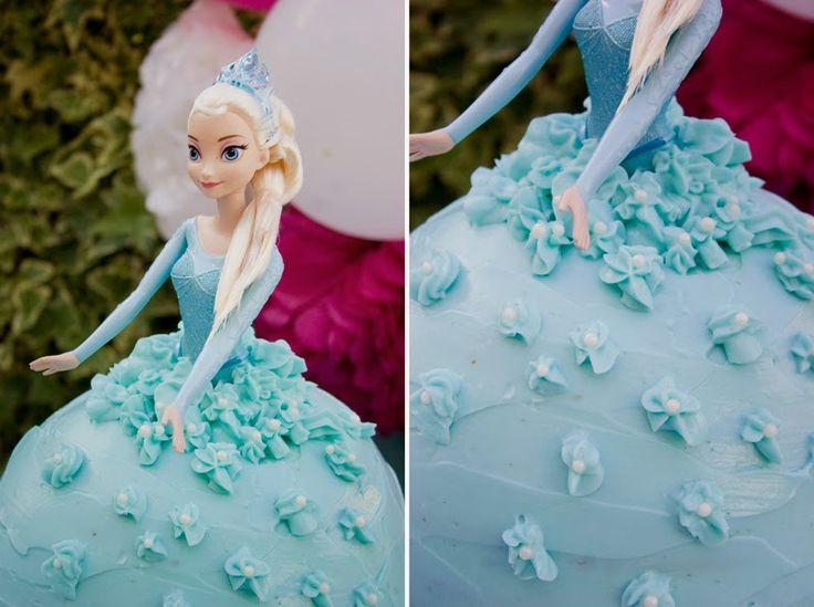 Tarta muñeca Elsa de Frozen - Cumpleaños Frozen11