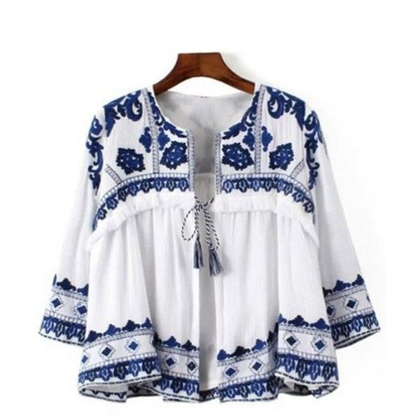 Blue And White Porcelain Blouse Blue And White (£39) ❤ liked on Polyvore featuring tops, blouses, blue and white blouse and blue and white top