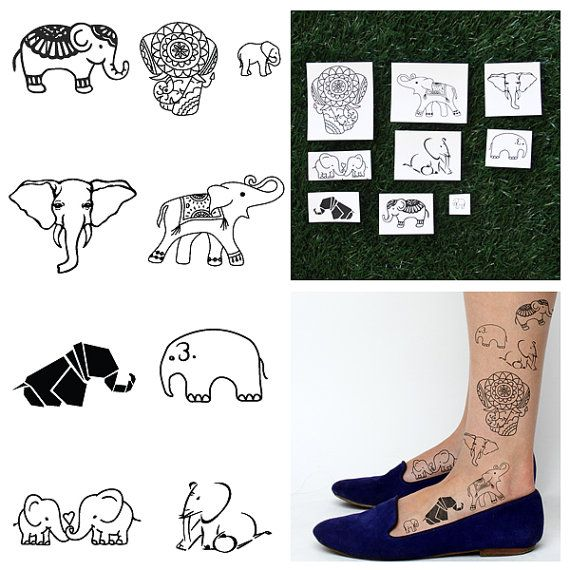 Elephants  Temporary Tattoo Pack Set of 18 by Tattify on Etsy - there's not only this bUT ALSO METALLIC TEMP. TATTOOS THAT ARE BITCHASS AWESOME