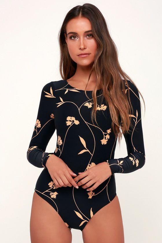 b50fd230b5f4b Sweet Roots Washed Black Floral Print Bodysuit Rashguard