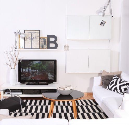 ...tv-wand., Tags TV + Schwarz + Vintage + Weiß + Gold + Besta + Bilderleiste