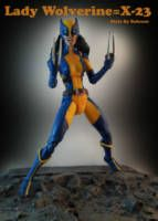 X-23 is a product of the Weapon X program cloned from a damaged sample of Wolverine's DNA. Since she could walk, she was trained to kill Wolverine, but instead she joined the X-Men, becoming his daughter figure and eventually, his successor. Base figure Hellcat DC Mera head ML X-23 claw and hair Apoxie mask Finally full repaint