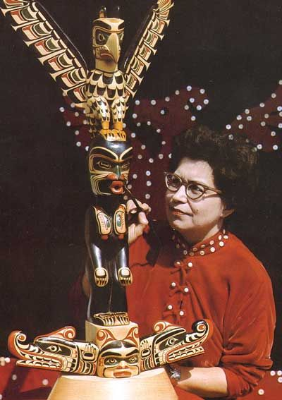 """Ellen Neel Ellen Neel (1916–1966) was a Kwakwaka'wakw artist woodcarver and is the first woman known to have professionally carved totem poles. She came from Alert Bay, British Columbia, and her work is in public collections throughout the world. Scholar Priya Helweg writes, """"Until Ellen Neel emerged as a professional carver in the late 1920's no women are named as carvers in the literature.""""Neel inspired subsequent First Nation women."""