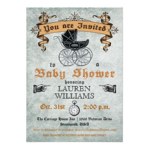 This Victorian, Gothic, steampunk inspired invitation is perfect for a Halloween baby shower. Vintage baby pram with decorative banner, finger pointing signs and pocket watch. Grunge background. The back of the card is also decorated with an old fashioned umberlla. Customize with your own text. Please check my store for more like this. #vintage #baby #shower #victorian #modern #baby #carriage #antique #halloween #gothic #finger #pointing #steampunk #invitation #baby #shower #buggy #steam ...