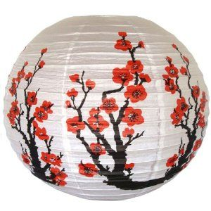 "Red Sakura (Cherry) Flowers White Color Chinese/Japanese Paper Lantern/Lamp 16"" Diameter - Just Artifacts"