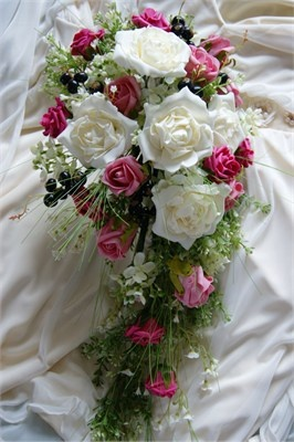 Country Style Artificial Flowers Foliage And Berries In A Trailing Bouquet Foam Flower
