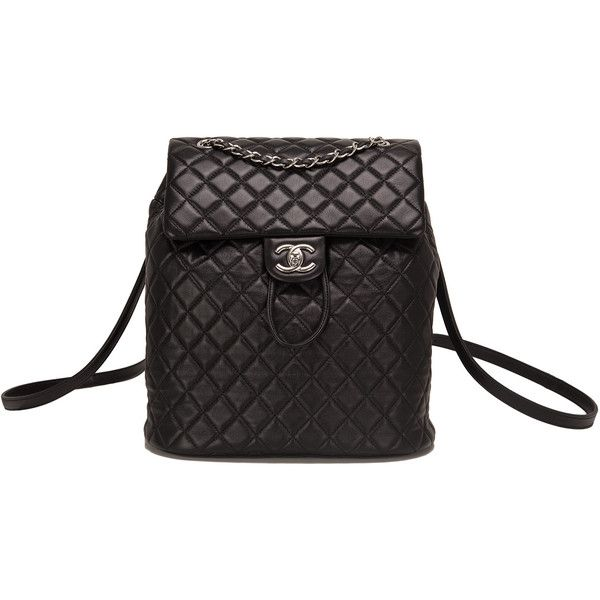 Chanel Urban Spirit Black Quilted Lambskin Large Backpack ❤ liked on Polyvore featuring bags, backpacks, chanel, day pack backpack, urban backpack, knapsack bag and lambskin bag