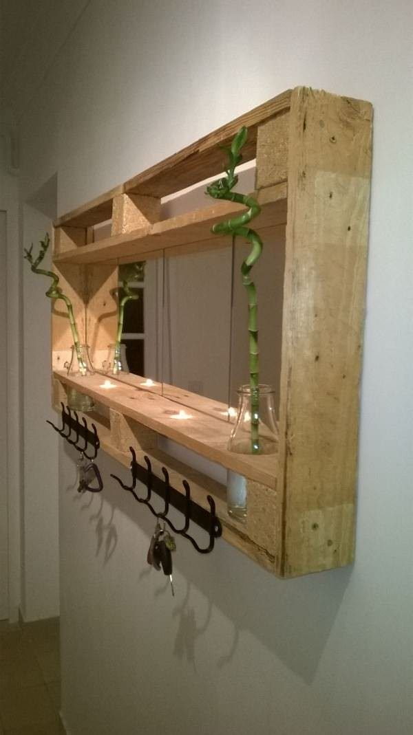Pallet Mirror For My Entrance Candle Holders Shelves & Coat Hangers