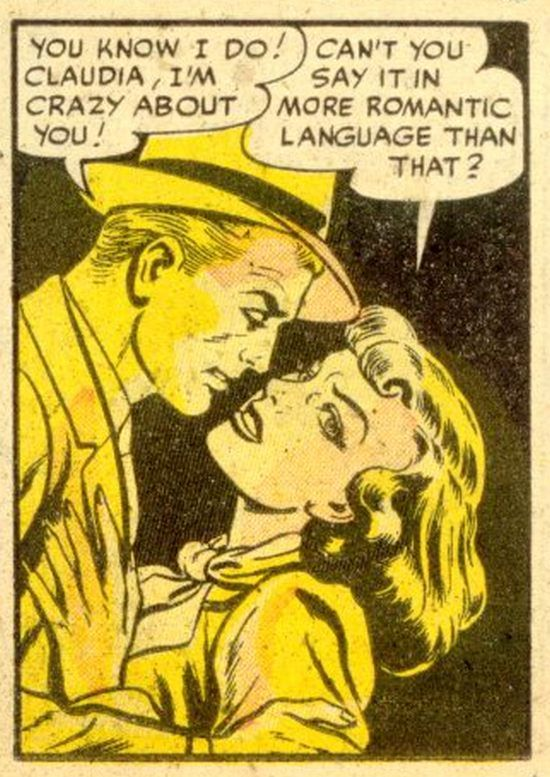 """Comic Girls Say.. """" Can't you say it in a more romantic language than that ? """" #comic #vintage"""