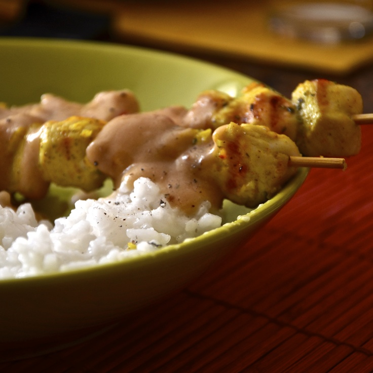 Saté ayam   (Skewers of chicken in peanut sauce with Gange's rice)  [Indonesia]