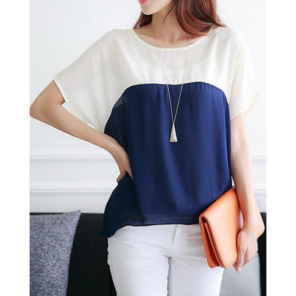 Casual Scoop Neck Short Batwing Sleeve Chiffon Spliced Women's Blouse #lily