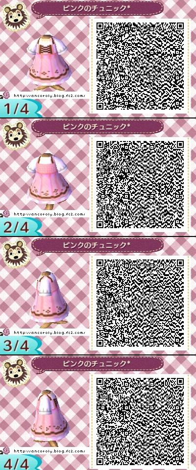 Animal Crossing New Leaf qr codes cute pink dress
