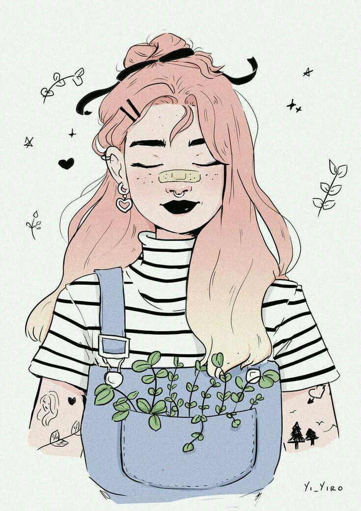 Картинки девушек в стиле тумблер цветные