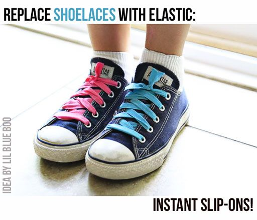 Turn lace up shoes into slip-ons via lilblueboo.com #diy #tutorial #kids