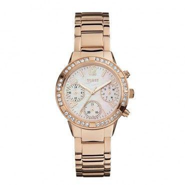 W0546L3 Γυναικείο μοντέρνο ρολόι GUESS με καντράν από φίλντισι, πέτρες και ροζ επίχρυσο μπρασελέ | Γυναικεία ρολόγια GUESS ΤΣΑΛΔΑΡΗΣ στο Χαλάνδρι #Guess #ροζ #ατσαλι #μπρασελε #ρολοι