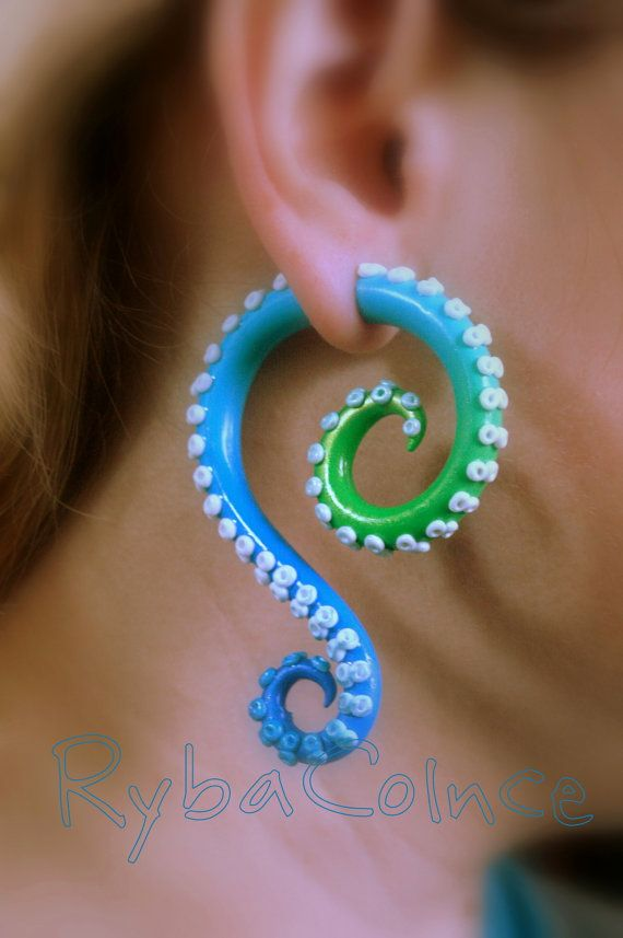 Fake ear tentacle gauge The Marine reptiles by RybaColnce on Etsy, $27.00