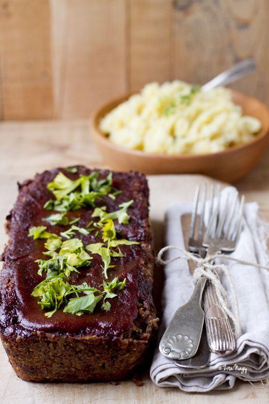 Glazed Walnut Green Lentil Loaf - Vegan