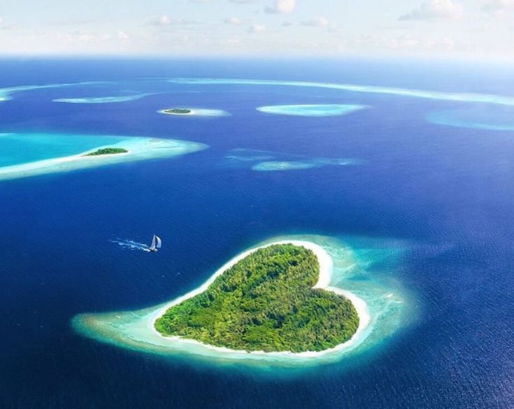 Heart-shaped island in the Republic of the Maldives. The Maldives is the smallest country in Asia but this country is regarded as the paradise of the world. Heart-shaped Island is one of many beautiful natural wonders in Maldives