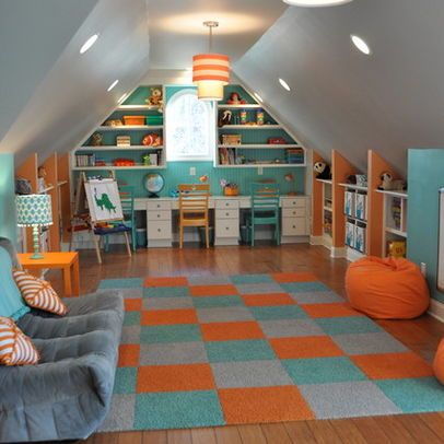 Omg - ultimate kids playroom. I want this room for MYSELF!!! It has a built-in play house!