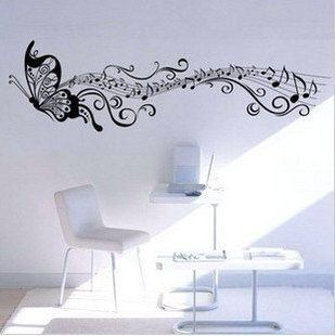 Beautiful music and butterfly decal