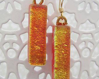 Oro naranja vitrofusión dicroico pendientes con oro resultados