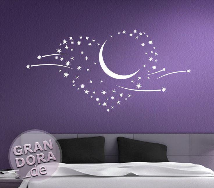 WANDTATTOO Sterne Liebe Herz Mond Sternschnuppen W757 Wandtatoo Schlafzimmer
