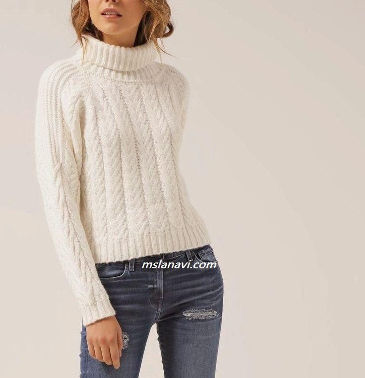 Белый пуловер с нежными аранами - СХЕМА http://mslanavi.com/2016/08/belyj-pulover-s-aranami/