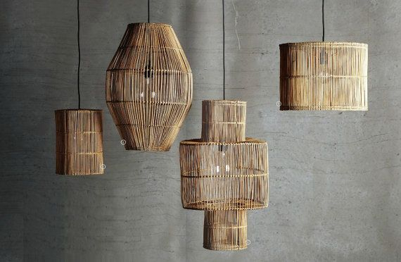 Limited edition rattan wicker Basket natural Handmade Pendant Light *Notice that the pendant comes without bulbs but fits all voltages 110-220V