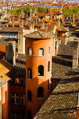 Towers and roofs in Old Lyon, France