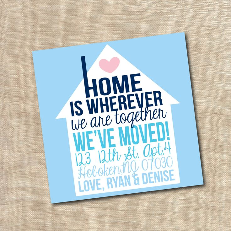 Housewarming Party Invitation New Home We Moved Announcement Card Printable Custom Personalized. $12.00, via Etsy.