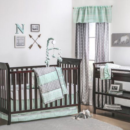 The Peanut Shell 3 Piece Baby Crib Bedding Set - Mint Green and Grey Arrow Stripe - 100% Cotton Quilt, Crib Skirt and Sheet